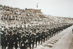 Parade of newly formed SS in the Deutsches Stade, Nuremberg, 11th-13th August, 1933, from 'Deutsche 18th