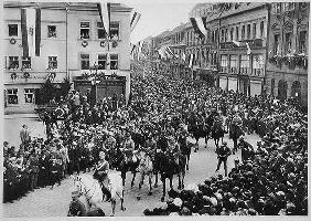 Parade of the first mounted SA divisions on Germany Day in Bayreuth, 1923, from 'Deutsche Gedenkhall 19th