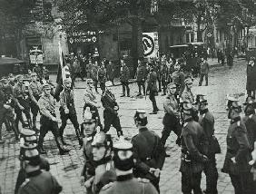 Regular Army and Prussian Police observing an SA demonstration in Neukoelln, Berlin, 26th September 20th