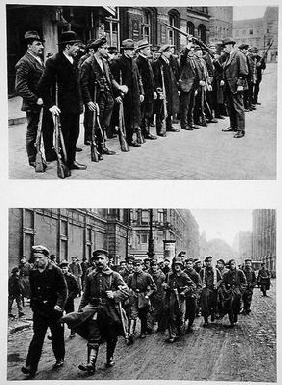 Rifle drill of the Spartacists (top) Revolutionary troops (bottom) on the 9th November 1918, from 'D 1883