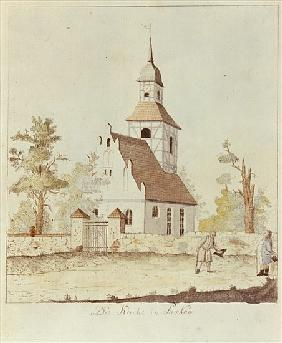 Church in Pankow, Berlin (coloured etching)
