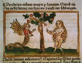 Eve Tempted by the Serpent, from 'Speculum Humanae Salvationis', published in Augsburg 1473