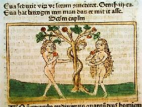 The Fall of Adam and Eve, from 'Speculum Humanae Salvationis', published in Augsburg 1473