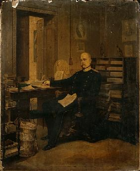 Otto von Bismarck in his Study (w/c on paper on board)