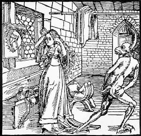 The Devil and the Coquette, copy of an illustration from 'Der Ritter von Turm', Augsburg 1498, used published