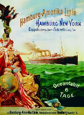 Poster advertising the Hamburg American Line 1897