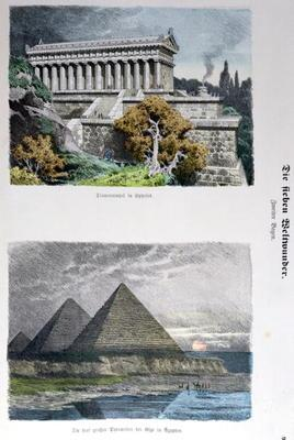Temple of Diana at Ephesus and the Pyramids of Giza, from a series of the 'Seven Wonders of the Worl 17th