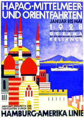 'HAPAG Mediterranean and Orient Cruises', poster advertising the Hamburg American Line 1927