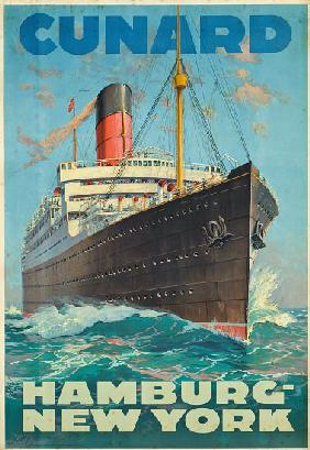 Poster advertising travel between Hamburg and New York with the shipping company Cunard