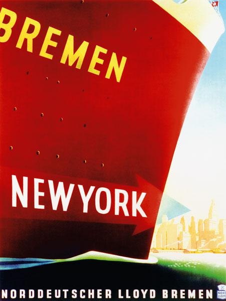 'New York', poster advertising the North German Lloyd Line 1930