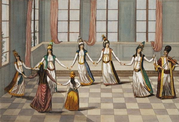 Dance that is fashionable with the Greek women of Constantinople, led by the woman holding a handker 14th