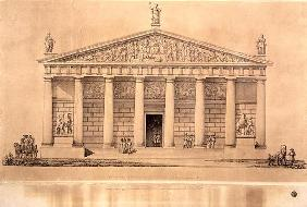 The Riding School of the Imperial Guards, St. Petersburg (engraving) 18th