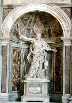 Statue of St. Longinus, at the base of the four pillars supporting the dome 1631-38