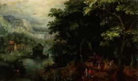 Landscape with figures in an avenue c.1595