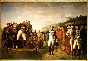 Farewell of Napoleon I (1769-1821) and Alexander I (1777-1825) after the Peace of Tilsit 9th July 1