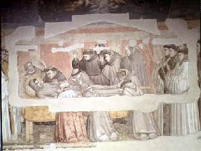 The Death of St. Francis, detail of bier and mourners, from the Bardi chapel