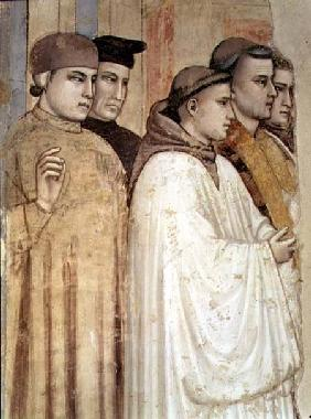 The Death of St. Francis, detail of the standing mourners on the left hand side, from the Bardi chap
