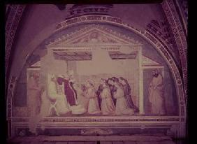 Pope Innocent III (1160-1216) Approving the Rule of St. Francis, from the Bardi Chapel c.1320