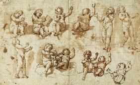 Studies of Putti (pen, ink, wash and chalk) 17th c.