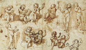 Studies of Putti (pen, ink, wash and chalk) - Auschnitt 17th c.