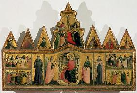 Polyptych: central panel depicting the Madonna and Child Enthroned with Angels and Saints surrounded 16th