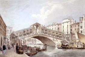 The Ponte di Rialto, Venice, engraved by Lefevre (litho) 16th
