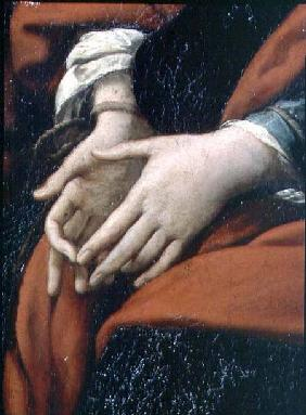 The Martyrdom of SS. Rufina and Seconda, known as the 'three-handed picture', detail of bound hands, before 162