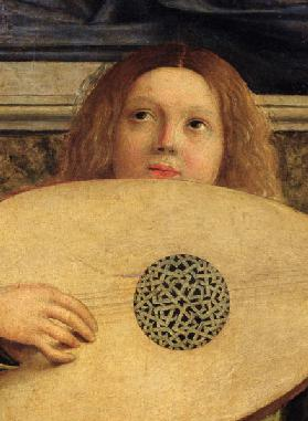 The San Giobbe Altarpiece, detail of angel playing music, c.1487 (detail of 55433)