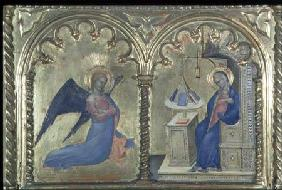 The Annunciation, detail from a polytych depicting The Lives of the Saints, from the Salone del II P 1353-63