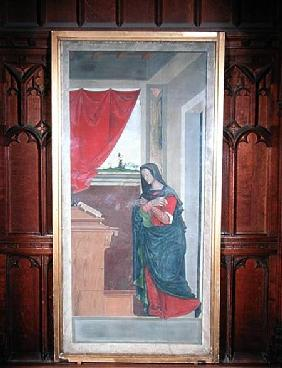 Virgin Annunciate, annunciation panel originally forming one of the outside shutters of the organ in