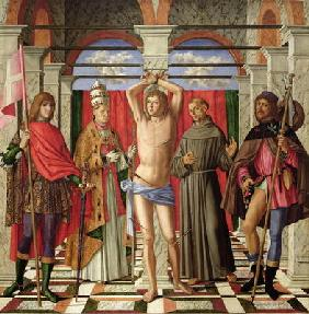 Saint Sebastian with Saints Liberale, Gregory, Francis and Roch (oil on panel) 17th