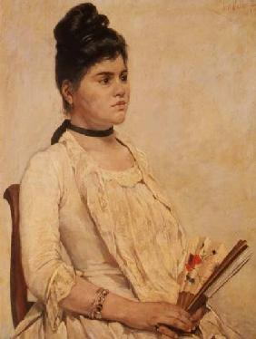 Portrait of a Lady holding a fan 1889