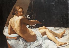 Young Man Lying on a Bed with a Cat 1620