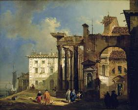 The Portico of the Church of San Lorenzo in Milan, c.1814 (oil on canvas)