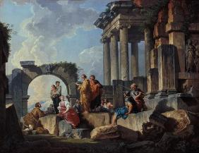 Ruins with the Apostle Paul preaching 1744