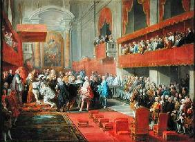 Presentation of the Order of the Holy Spirit to Prince Vaini by Paul-Hippolyte de Beauvillers (1684- c.1752