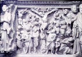Crucifixion scene: detail of relief from the top of the hexagonal pulpit designed