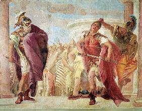 Minerva Preventing Achilles from Killing Agamemnon, from ''The Iliad'' by Homer, 1757