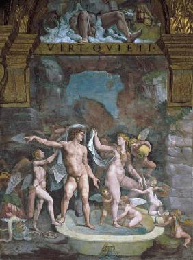Mars and Venus bathing, aided by Cupid and putti from the Sala di Amore e Psiche 1528