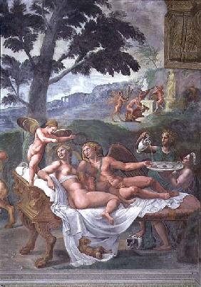 Cupid and Psyche with their daughter Voluptuousness, waited on by Ceres who pours water into a basin 1528