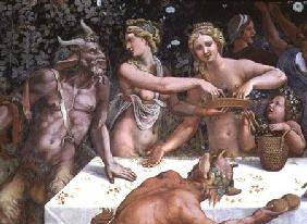 Two Horae scattering flowers, watched by two satyrs, detail of the rustic banquet celebrating the ma 1528