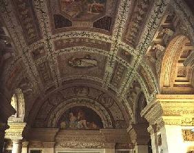 The Loggia di Davide (or D'Onore) interior decorated with ceiling frescos of biblical subjects inclu