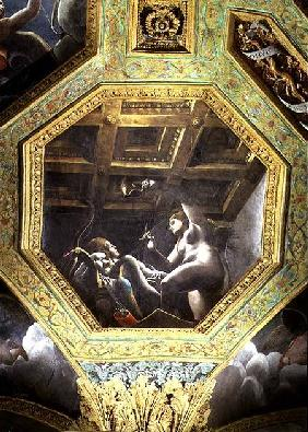 Psyche sees Cupid while he sleeps, ceiling caisson from the Sala di Amore e Psiche 1528