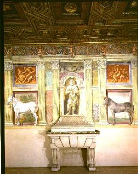 Sala dei Cavalli with trompe l'oeil portraits of two horses, the god Jupiter and imitation bronze pa 1528