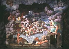 Sala dei Giganti, detail of the destruction of the giants by Jupiter's thunderbolts 1536