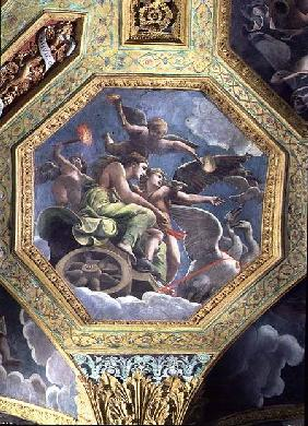Venus and Cupid in a chariot drawn by swans, ceiling caisson from the Sala di Amore e Psiche 1528