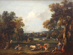 Hunt for the Bull, c.1732 (oil on canvas) 1858