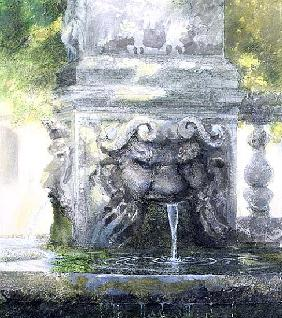 Fountain in the Borghese Gardens, Rome, 1982 (w/c and gouache on paper)