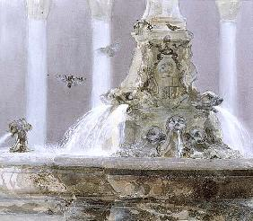 The Pantheon Fountain, Rome, 1983 (w/c and gouache on paper)