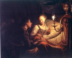 A Candlelight Scene: A Man Offering a Gold Chain and Coins to a Girl Seated on a Bed c.1665-70